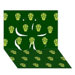 Skull Pattern Green Clover 3D Greeting Card (7x5)