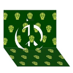 Skull Pattern Green Peace Sign 3D Greeting Card (7x5)