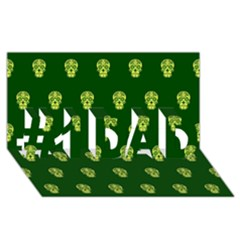 Skull Pattern Green #1 DAD 3D Greeting Card (8x4)