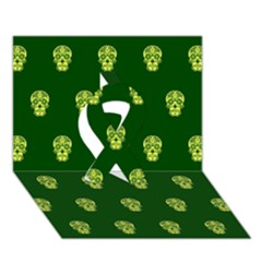 Skull Pattern Green Ribbon 3D Greeting Card (7x5)