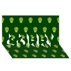 Skull Pattern Green Sorry 3d Greeting Card (8x4)