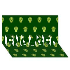 Skull Pattern Green ENGAGED 3D Greeting Card (8x4)
