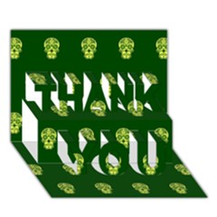 Skull Pattern Green Thank You 3d Greeting Card (7x5)