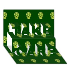 Skull Pattern Green Take Care 3d Greeting Card (7x5)