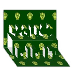 Skull Pattern Green You Did It 3D Greeting Card (7x5)
