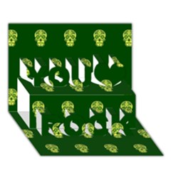 Skull Pattern Green You Rock 3d Greeting Card (7x5)