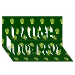 Skull Pattern Green Laugh Live Love 3D Greeting Card (8x4)