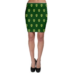 Skull Pattern Green Bodycon Skirts