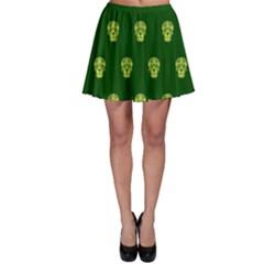 Skull Pattern Green Skater Skirts