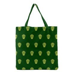 Skull Pattern Green Grocery Tote Bags