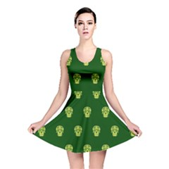 Skull Pattern Green Reversible Skater Dresses