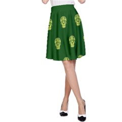 Skull Pattern Green A-Line Skirts