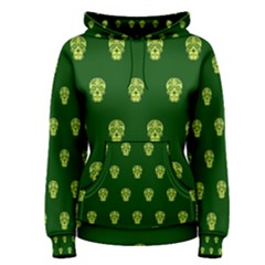 Skull Pattern Green Women s Pullover Hoodies