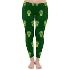 Skull Pattern Green Winter Leggings