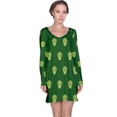 Skull Pattern Green Long Sleeve Nightdresses