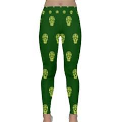 Skull Pattern Green Yoga Leggings