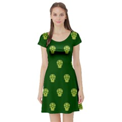 Skull Pattern Green Short Sleeve Skater Dresses