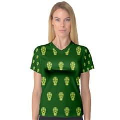 Skull Pattern Green Women s V-Neck Sport Mesh Tee