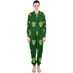 Skull Pattern Green Hooded Jumpsuit (Ladies)