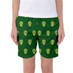 Skull Pattern Green Women s Basketball Shorts