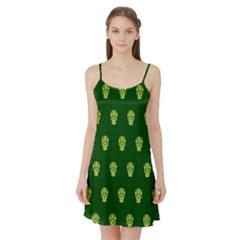 Skull Pattern Green Satin Night Slip