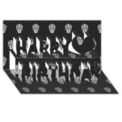Skull Pattern Bw  Happy Birthday 3D Greeting Card (8x4)