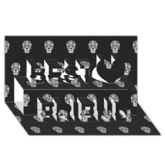 Skull Pattern Bw  Best Friends 3D Greeting Card (8x4)