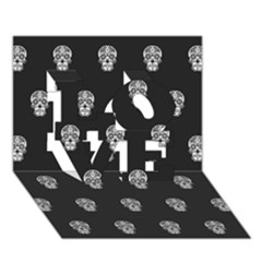 Skull Pattern Bw  LOVE 3D Greeting Card (7x5)