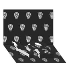 Skull Pattern Bw  Love Bottom 3d Greeting Card (7x5)