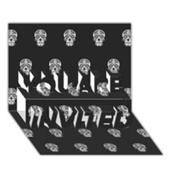 Skull Pattern Bw  YOU ARE INVITED 3D Greeting Card (7x5)