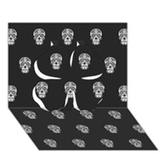 Skull Pattern Bw  Clover 3D Greeting Card (7x5)