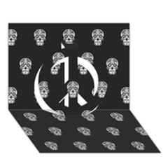 Skull Pattern Bw  Peace Sign 3d Greeting Card (7x5)