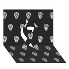 Skull Pattern Bw  Ribbon 3D Greeting Card (7x5)