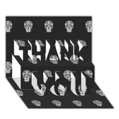 Skull Pattern Bw  THANK YOU 3D Greeting Card (7x5)
