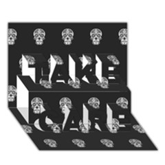 Skull Pattern Bw  TAKE CARE 3D Greeting Card (7x5)