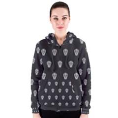 Skull Pattern Bw  Women s Zipper Hoodies