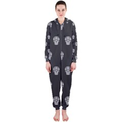 Skull Pattern Bw  Hooded Jumpsuit (Ladies)