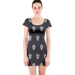 Skull Pattern Bw  Short Sleeve Bodycon Dresses