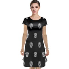 Skull Pattern Bw  Cap Sleeve Nightdresses