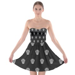 Skull Pattern Bw  Strapless Bra Top Dress