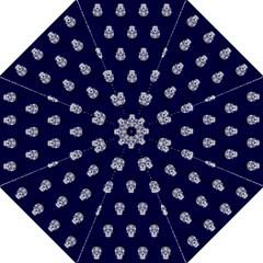 Skull Pattern Blue  Hook Handle Umbrellas (Medium)