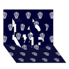 Skull Pattern Blue  LOVE 3D Greeting Card (7x5)