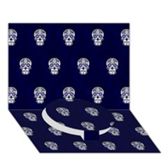 Skull Pattern Blue  Circle Bottom 3D Greeting Card (7x5)