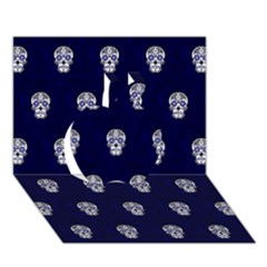 Skull Pattern Blue  Apple 3D Greeting Card (7x5)