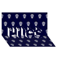 Skull Pattern Blue  HUGS 3D Greeting Card (8x4)