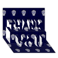 Skull Pattern Blue  Thank You 3d Greeting Card (7x5)