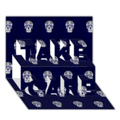 Skull Pattern Blue  TAKE CARE 3D Greeting Card (7x5)