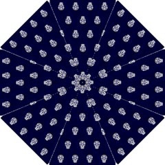 Skull Pattern Blue  Hook Handle Umbrellas (small)