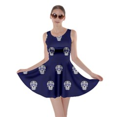 Skull Pattern Blue  Skater Dresses