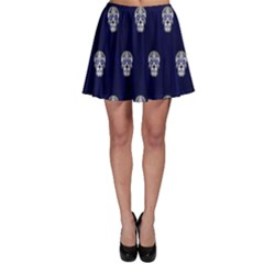 Skull Pattern Blue  Skater Skirts